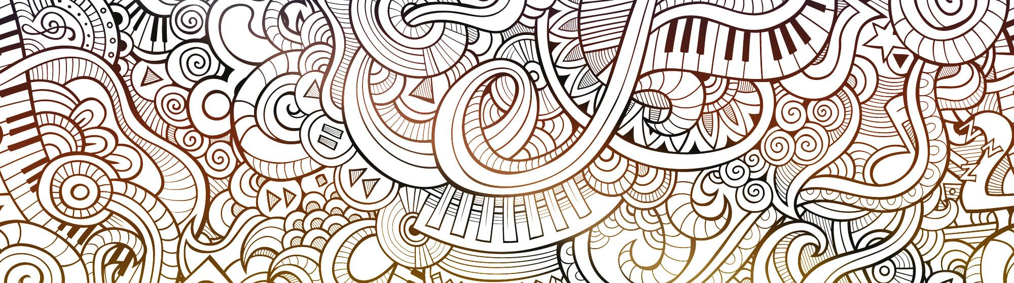 Tecknat Kollage Av Musikinstrument